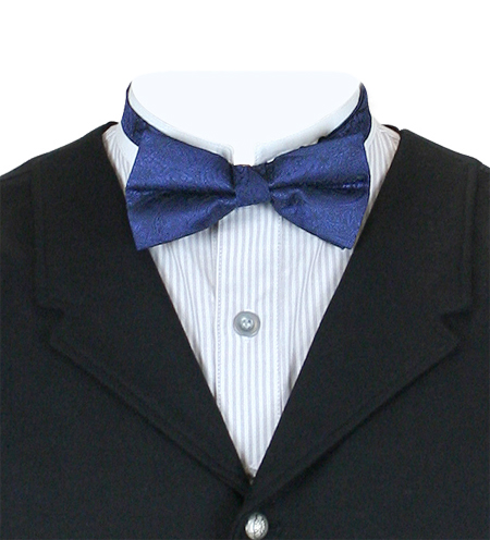 Victorian Mens Blue Paisley Bow Tie   Dickens   Downton Abbey   Edwardian    Montgomery Paisley Bow Tie - Navy