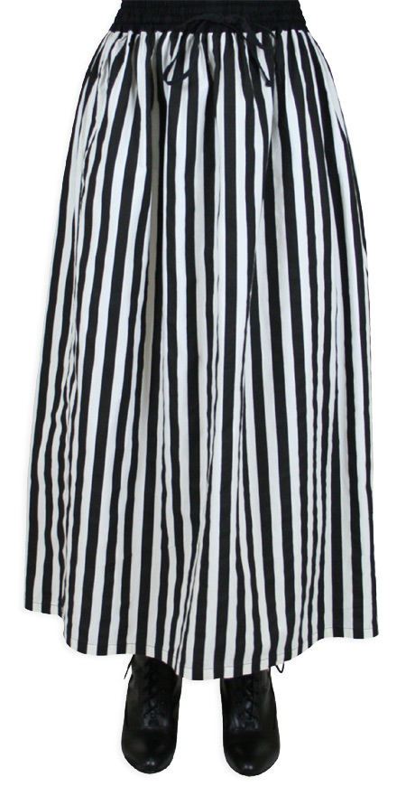 Vintage Ladies Black,White Cotton Stripe Dress Skirt | Romantic | Old Fashioned | Traditional | Classic || Lydia Skirt  - Black and White