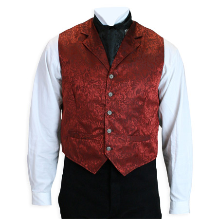 Vintage Mens Red Silk Floral Notch Collar Dress Vest | Romantic | Old Fashioned | Traditional | Classic || Twin City Silk Vest - Rust