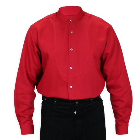 Wedding Mens Red Cotton Solid Band Collar Work Shirt | Formal | Bridal | Prom | Tuxedo || Hughes Shirt - Red