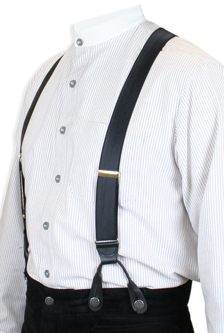 1800s Mens Black Y-Back Braces Suspenders | 19th Century | Historical | Period Clothing | Theatrical || French Satin Suspenders - Black (Short)