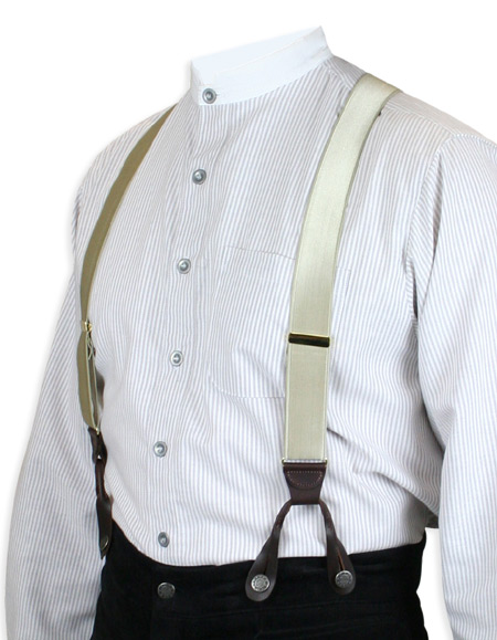 Wedding Mens Brown,Tan Y-Back Braces Suspenders | Formal | Bridal | Prom | Tuxedo || French Satin Suspenders - Khaki (Short)
