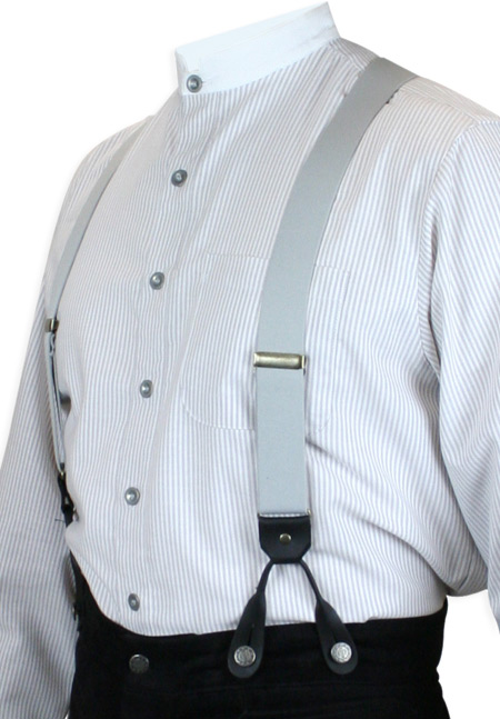 Victorian Mens Gray Elastic Y-Back Braces Suspenders | Dickens | Downton Abbey | Edwardian || Gray Elastic Y-Back Braces (Short)