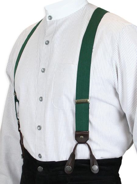 Steampunk Mens Green Elastic Y-Back Braces Suspenders | Gothic | Pirate | LARP | Cosplay | Retro | Vampire || Green Elastic Y-Back Braces (Short)
