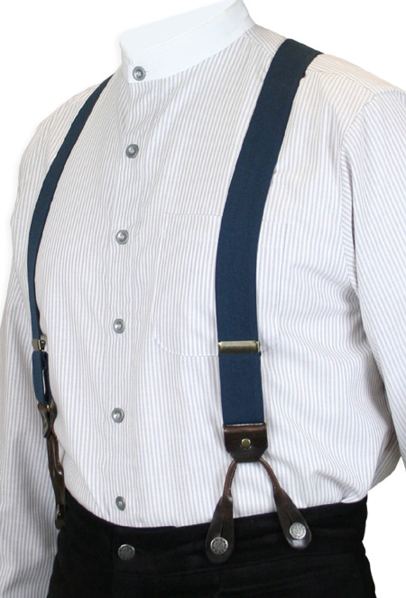 Steampunk Mens Blue Elastic Y-Back Braces Suspenders | Gothic | Pirate | LARP | Cosplay | Retro | Vampire || Navy Elastic Y-Back Braces (Short)