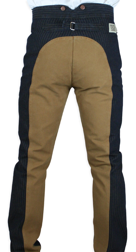 Wedding Mens Blue,Brown,Tan Cotton Solid,Stripe Work Pants | Formal | Bridal | Prom | Tuxedo || Olson Saddle Pants - Denim/Tan