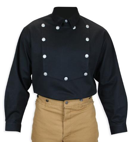 Wedding Mens Black Cotton Solid Point Collar Bib Shirt | Formal | Bridal | Prom | Tuxedo || Longview Bib Shirt - Black