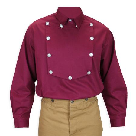 Victorian Mens Burgundy Cotton Solid Point Collar Bib Shirt | Dickens | Downton Abbey | Edwardian || Longview Bib Shirt - Burgundy