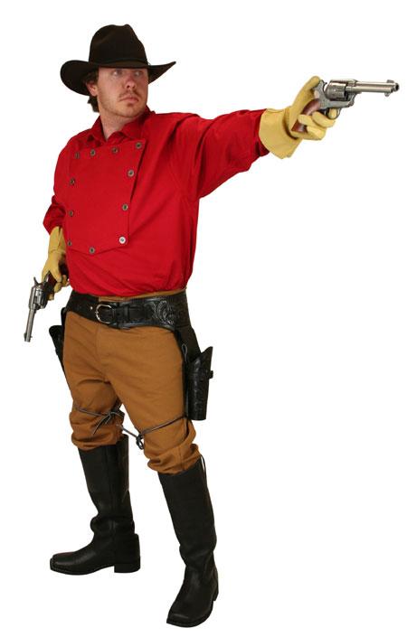Steampunk Mens Red Cotton Solid Point Collar Bib Shirt | Gothic | Pirate | LARP | Cosplay | Retro | Vampire || Longview Bib Shirt - Red