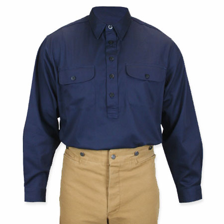 Victorian Mens Blue Cotton Solid Point Collar Work Shirt | Dickens | Downton Abbey | Edwardian || Garvey Shirt - Navy