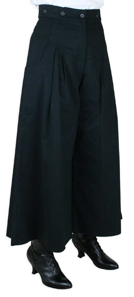 Victorian Ladies Black Cotton Solid Work Pants | Dickens | Downton Abbey | Edwardian || Brushed Twill Riding Pant - Black