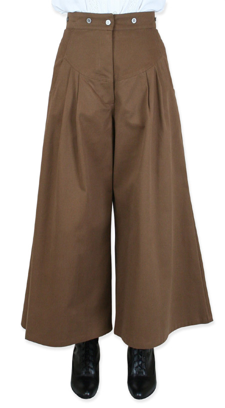 Steampunk Ladies Brown Cotton Solid Work Pants | Gothic | Pirate | LARP | Cosplay | Retro | Vampire || Brushed Twill Riding Pant - Brown