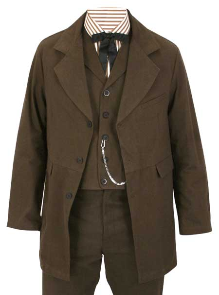 Wedding Mens Brown Cotton Solid Notch Collar Town Coat | Formal | Bridal | Prom | Tuxedo || Sable Brushed Cotton Town Coat - Brown