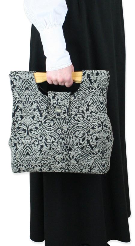 1800s Ladies Black Carpetbag   19th Century   Historical   Period Clothing   Theatrical    Small Carpetbag - Black Chenille