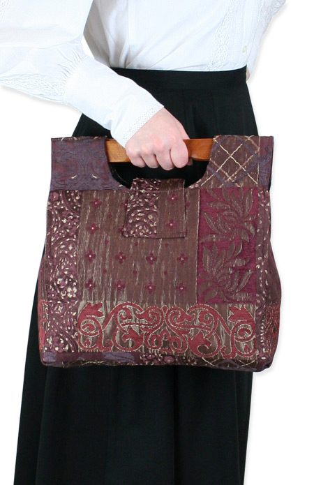 Vintage Ladies Red Carpetbag | Romantic | Old Fashioned | Traditional | Classic || Small Carpetbag - Wine Paisley