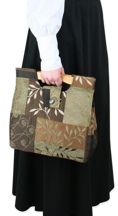 Wedding Ladies Brown Carpetbag | Formal | Bridal | Prom | Tuxedo || Small Carpetbag - Brown Leaf