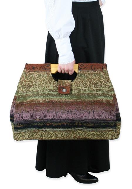 Victorian Ladies Brown Carpetbag | Dickens | Downton Abbey | Edwardian || Large Carpetbag - Rust Stripe