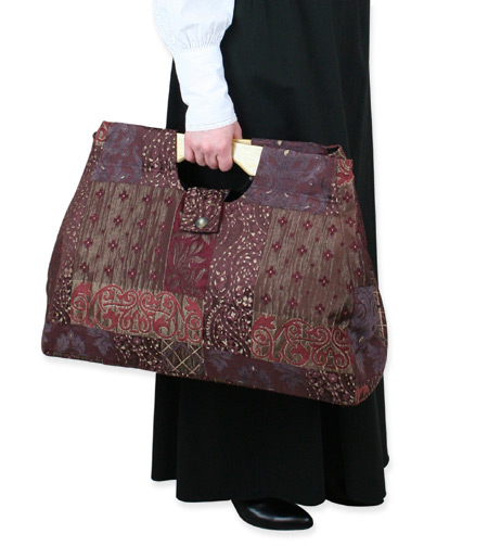 Vintage Ladies Red Carpetbag | Romantic | Old Fashioned | Traditional | Classic || Large Carpetbag - Wine Paisley