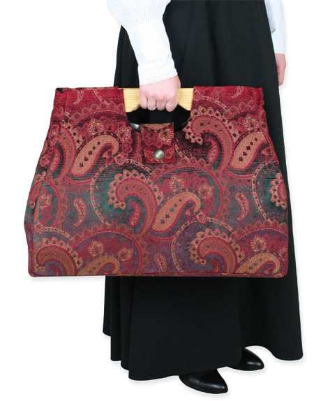 Vintage Ladies Red Carpetbag | Romantic | Old Fashioned | Traditional | Classic || Large Carpetbag - Red Paisley