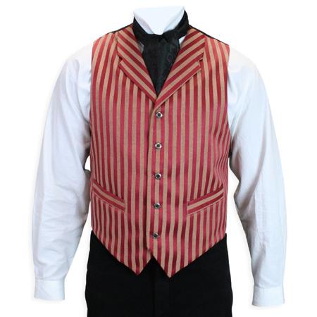 Wedding Mens Red Stripe Notch Collar Dress Vest   Formal   Bridal   Prom   Tuxedo    Sacramento Vest - Crimson Stripe