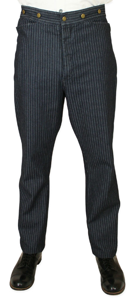 Wedding Mens Blue Cotton Stripe Work Pants | Formal | Bridal | Prom | Tuxedo || Chapman Pants - Denim