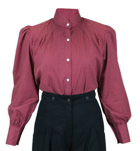 1800s Ladies Burgundy Cotton Geometric,Print Stand Collar Blouse   19th Century   Historical   Period Clothing   Theatrical    Somerset Blouse - Burgundy