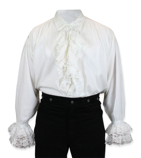 Steampunk Mens White Solid Point Collar Dress Shirt | Gothic | Pirate | LARP | Cosplay | Retro | Vampire || Byron Shirt - White
