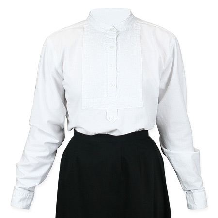 Wedding Ladies White Cotton Solid Band Collar Blouse | Formal | Bridal | Prom | Tuxedo || Ladies Essential Work Shirt - White
