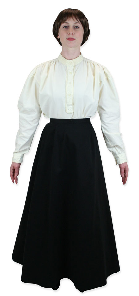 Wedding Ladies Ivory Cotton Solid Stand Collar Blouse | Formal | Bridal | Prom | Tuxedo || Lorraine Work Blouse - Ivory