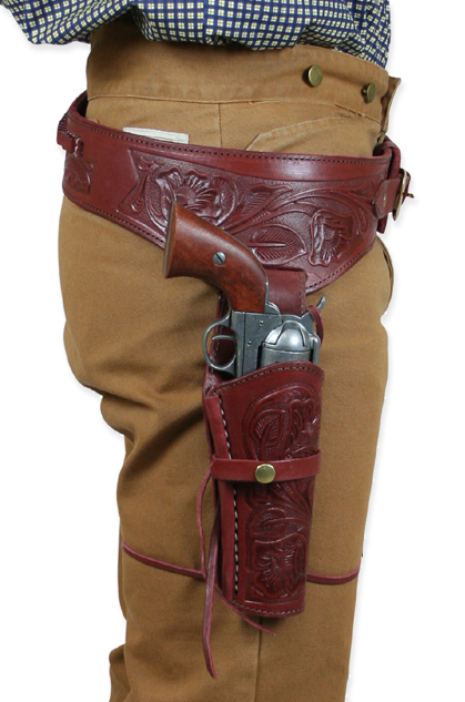 1800s Mens Red Leather Tooled Gunbelt Holster Combo | 19th Century | Historical | Period Clothing | Theatrical || (.22 cal) Western Gun Belt and Holster - RH Draw - Auburn Tooled Leather