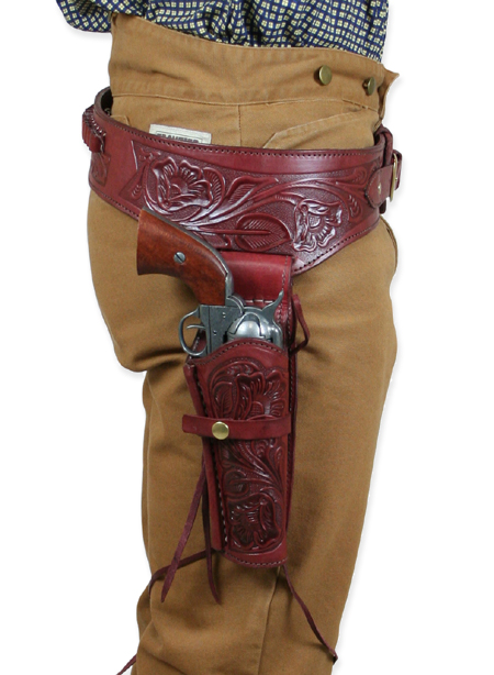 1800s Mens Red Leather Tooled Gunbelt Holster Combo | 19th Century | Historical | Period Clothing | Theatrical || Auburn Western Gun Belt & Holster (.38/.357 RH)