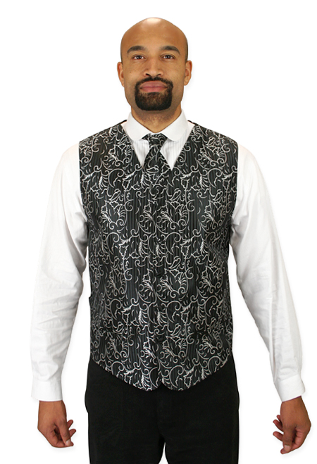 Steampunk Mens Black,Gray Floral No Collar Dress Vest | Gothic | Pirate | LARP | Cosplay | Retro | Vampire || Gaston Vest and 2 Ties Set - Black