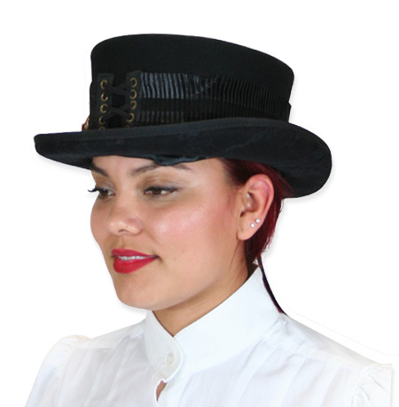 Vintage Ladies Black Wool Felt Top Hat | Romantic | Old Fashioned | Traditional | Classic || Ladies Riding Hat - Feather & Pleats