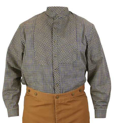 Wedding Mens Blue Cotton Plaid Stand Collar Work Shirt | Formal | Bridal | Prom | Tuxedo || Cornelius Shirt - Blue Plaid