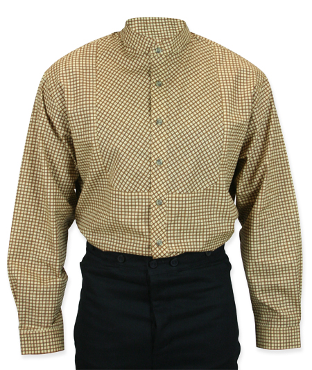 Victorian Mens Brown,Tan Cotton Plaid Stand Collar Work Shirt | Dickens | Downton Abbey | Edwardian || Cornelius Shirt - Tan Plaid