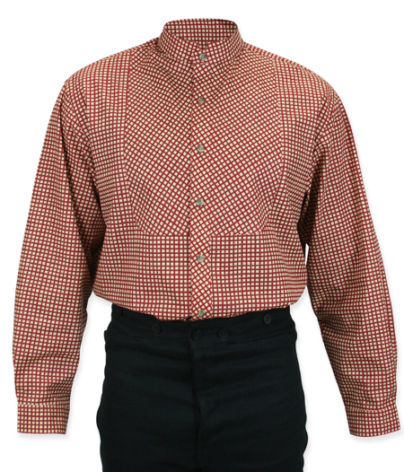 Victorian Mens Red Cotton Plaid Stand Collar Work Shirt | Dickens | Downton Abbey | Edwardian || Cornelius Shirt - Red Plaid