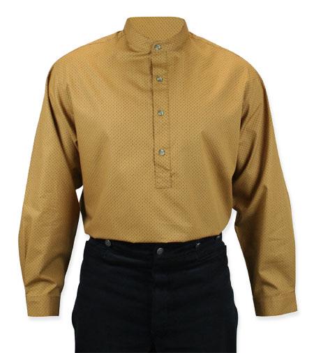 Steampunk Mens Brown Cotton Geometric Band Collar Work Shirt | Gothic | Pirate | LARP | Cosplay | Retro | Vampire || Glenrock Shirt - Tobacco