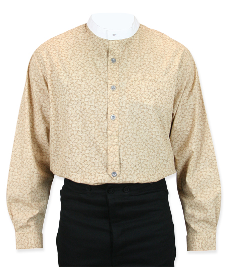 1800s Mens Brown,Tan Cotton Print Band Collar Work Shirt | 19th Century | Historical | Period Clothing | Theatrical || Elkins Shirt - Tan Leaf