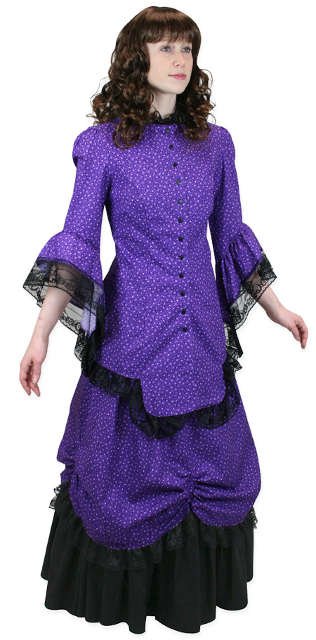 Wedding Ladies Purple Cotton Floral Dress | Formal | Bridal | Prom | Tuxedo || Lucille Walking Suit - Purple Floral