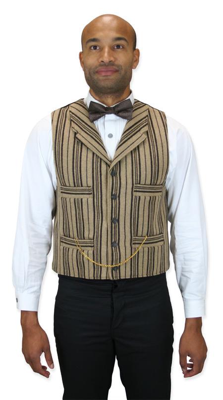 Steampunk Mens Brown,Tan Stripe Notch Collar Dress Vest | Gothic | Pirate | LARP | Cosplay | Retro | Vampire || Packington Vest - Tan