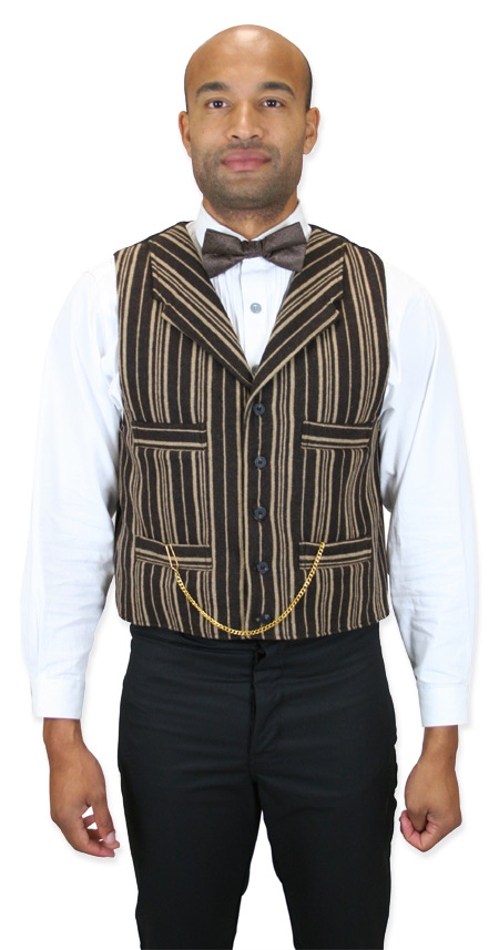 1800s Mens Brown Stripe Notch Collar Dress Vest   19th Century   Historical   Period Clothing   Theatrical    Packington Vest - Brown