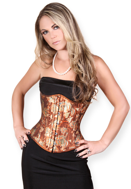 Vintage Ladies Brown,Red Floral Corset | Romantic | Old Fashioned | Traditional | Classic || Bronze Goddess Corset