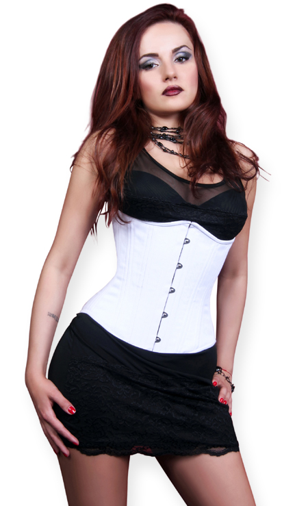 Wedding Ladies White Solid Corset | Formal | Bridal | Prom | Tuxedo || Virginia Cotton Corset