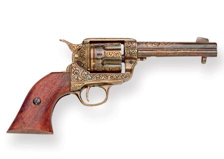 Steampunk Mens Gold Replica Weapon | Gothic | Pirate | LARP | Cosplay | Retro | Vampire || 1873 Colt Peacemaker Pistol Replica - Gold
