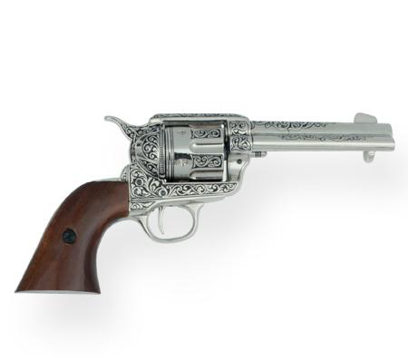 Victorian Mens Silver Replica Weapon | Dickens | Downton Abbey | Edwardian || 1873 Engraved Fast Draw Revolver Replica - Nickel