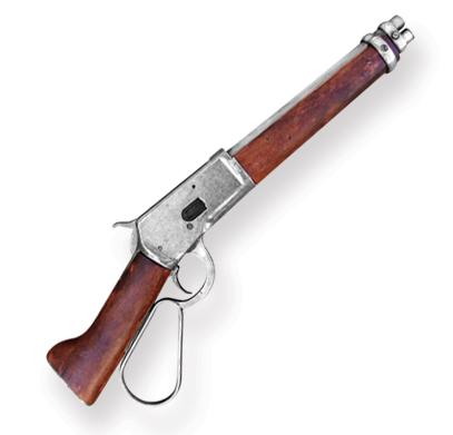 Steampunk Mens Silver Replica Weapon | Gothic | Pirate | LARP | Cosplay | Retro | Vampire || Mares Leg Lever Action Rifle Replica