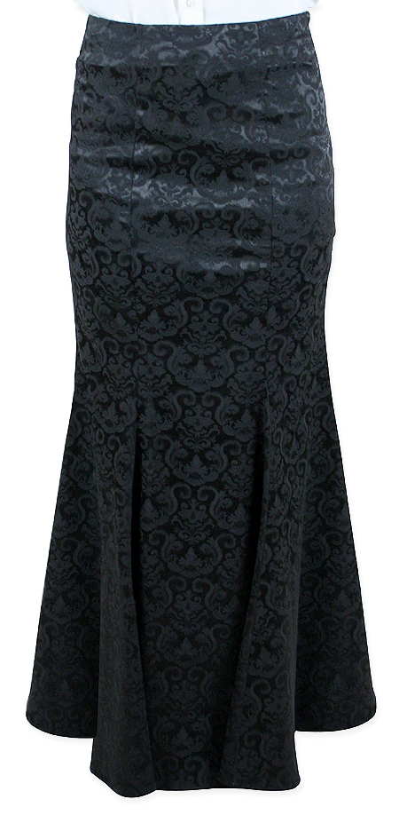 Vintage Ladies Black Floral Dress Skirt | Romantic | Old Fashioned | Traditional | Classic || Liliana Fishtail Skirt - Black
