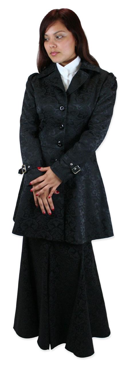Wedding Ladies Black Notch Collar Frock Coat | Formal | Bridal | Prom | Tuxedo || Olivia Lace-Up Jacket - Black Jacquard