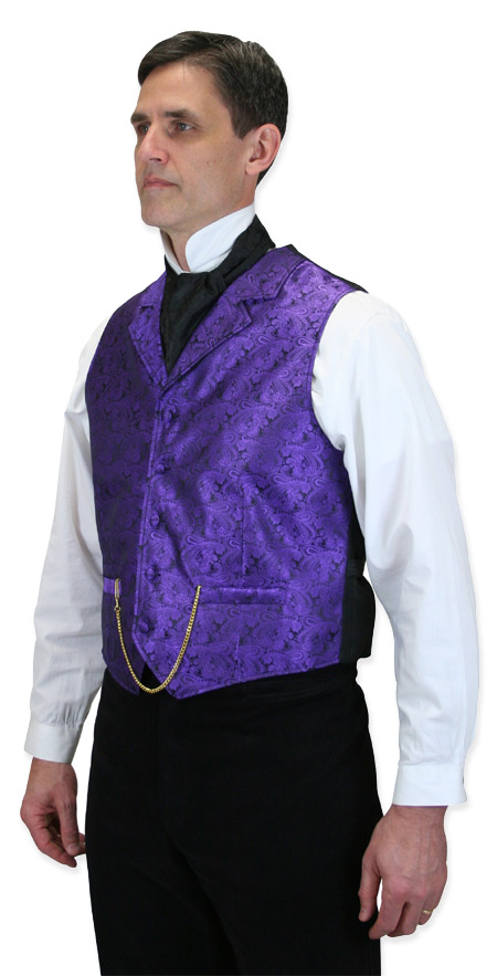 Wedding Mens Purple Paisley Notch Collar Dress Vest | Formal | Bridal | Prom | Tuxedo || Klondike Vest - Purple