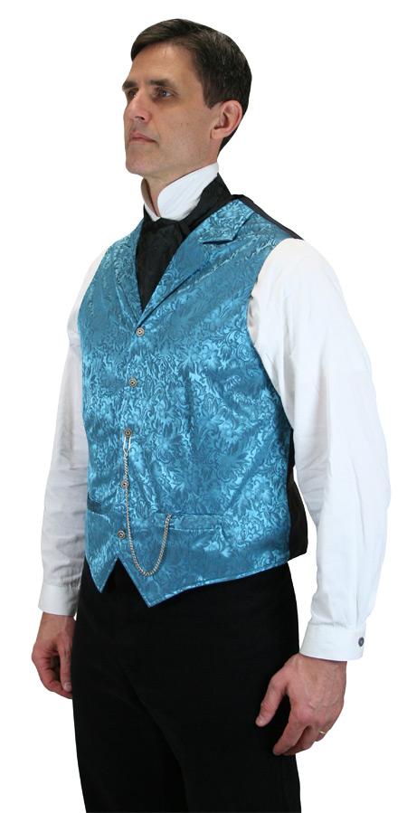 Victorian Mens Blue Silk Floral Notch Collar Dress Vest | Dickens | Downton Abbey | Edwardian || Twin City Silk Vest - Aqua